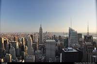 New York : Empire State Building and lower Manhatahn, afar, minutes before sunset. Taken from Top of the Rock, (Rockefeller center). That's the best view in town!