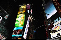 , New York, NY, World famous Times Square and the hudge neon signs.