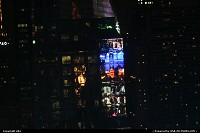 New York : Times square signe light reflect into a building.