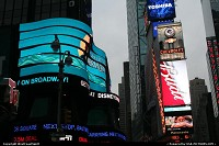 A bended neon sign in Time Square, NYC