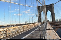 New York : text from wikipedia, find more :http://en.wikipedia.org/wiki/Brooklyn_bridge The Brooklyn Bridge is one of the oldest suspension bridges in the United States. Completed in 1883, it connects the New York City boroughs of Manhattan and Brooklyn by spanning the East River. At 5,989 feet (1825 m),[2] it was the longest suspension bridge in the world from its opening to 1903, the first steel-wire suspension bridge, and the first bridge to connect Manhattan to the mainland. Originally referred to as the New York and Brooklyn Bridge, it was dubbed the Brooklyn Bridge in an 1867 letter to the editor of the Brooklyn Daily Eagle,[3] and formally so named by the city government in 1915. Since its opening, it has become an iconic part of the New York skyline. It was designated a National Historic Landmark in 1964