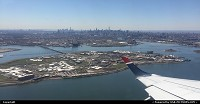 , New York, NY, Leaving LaGuardia airport with a great view of the NYC skyline