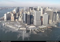 New York : Lower Manhattan, here seen from the helicopter. Hudson River to the left, East River to the right.