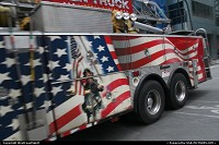 New York : Another vibrant firemen truck roaming around Time Square
