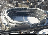 Yankee's stadium in Harlem neighborhood. Seen here from the helicopter.