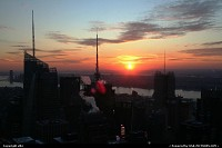 Photo by elki | New York  New York Manhattan sunset Rockfeller Center (top of the rock)