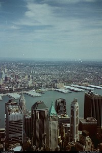 New-york, view of the Hudson River from the top of the World Trade Center.