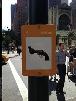 , New York, NY, knotted gun sign. Could be seen at the union nations headquarters. It is one of the sculture of NVP, non violent project organization. see more @ http://en.wikipedia.org/wiki/The_Non-Violence_Project