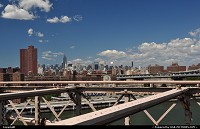 New york : Great Manhatthan overview from Brooklyn bridge with the world famous Empire State Building afar