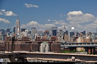 New york : Great overview on Manhattan from the Brooklyn bridge under great weather.