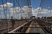 New york : Walking down the bridge under a fantastic weather...