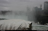 Niagara falls, us side. At the back some hotel and casino in the canada side