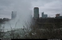 The Niagara Falls city/resort/theme park in Canada, here somewhat hidden by the