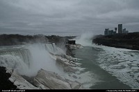 New-york, An global view of Niagara Falls area. Canada to the right, USA to the left