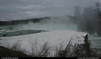 New-york, The water fog/vapor/cloud exhausted by the world famous horse shoe shaped fall, in Niagara Falls. From the USA side of the area