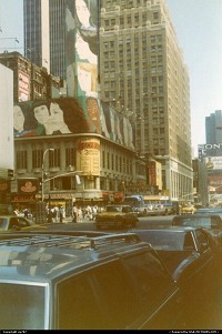 Streets of New York,a closer look on the traffic reveals a couple of Checker cabs which did not yet surrender to then newer Ford LTDs.