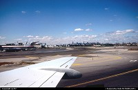 Taxying to gate at La Guardia while NY's distinctive skyline fills the horizon