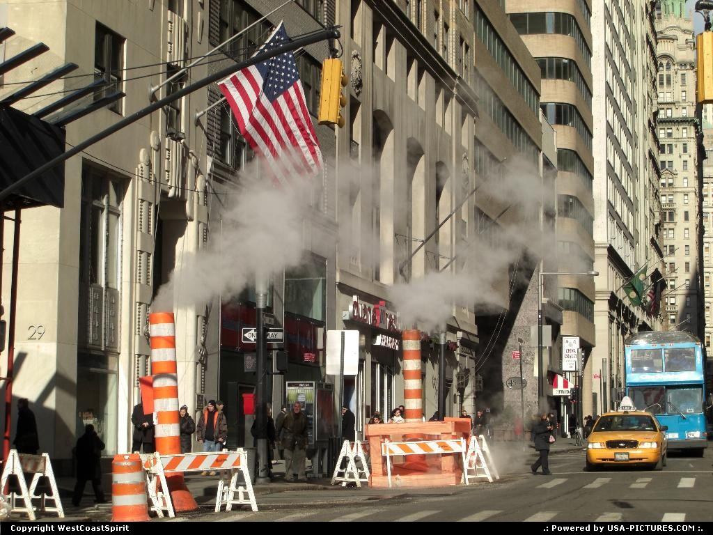 Picture by WestCoastSpirit: New York New-york   nyc, steam, flag, cab, taxi