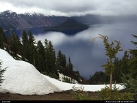 Crater Lake : While one thinks late May is almost summer, Crater Lake NP sure thinks otherwise. A wonderful sight nonetheless,