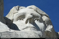 South-dakota, Mount Rushmore National Memorial sculpture by Gutzon Borglum represents the first 150 years of the history of the United States of America. Featuring 60-foot/18 m sculptures of the heads of former United States Presidents, here Thomas Jefferson. The precision of the craving is just amazing!