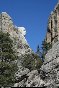 Not in a city : Profile View, Mount Rushmore. A dramatic view of the carving. George Washington is the sole President visible from this point. Just amazing to see the face right in top of the mountain.