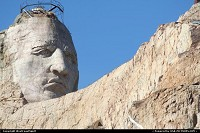 Not in a city : The impressive face of Crazy Horse, carved in the mountain. Eventually, the whole moutain will be carved, featuring Crazy Horse riding his horse. Amazing!