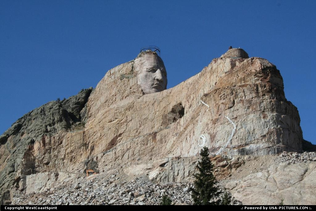 Picture by WestCoastSpirit: Not in a city South-dakota   crazy horse, carving, natives, mount rushmore