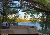 Lou Neff Point. This lookout point is along the Lady Bird Lake Hike & Bike Trail at the point where Barton Creek flows into Lady Bird Lake. Nice views of the skyline from here, as well.