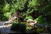 Isamu Taniguchi Japanese Garden in Zilker Botanical Gardens. The Togetsu-kyo bridge or