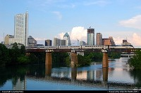 Photo by LoneStarMike | Austin  downtown, skyline, skyscraper, train, bridge