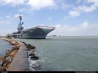 Corpus Christi, North Beach, by the USS Lexington carrier ship, nicknamed Blue Ghost.