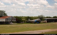 Abandoned plane at Sycamore Airport near Fort Worth. Photographed from Amtrak's Texas Eagle