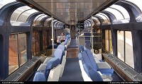 Observation car of Amtrak's Texas Eagle while the train is stopped in Fort Worth.
