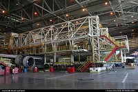 Texas, An American Airlines Boeing 737 undergoing à C check in the former Delta Airlines hanger in Dallas, DFW. Yes, there IS a plane under the scaffolding!