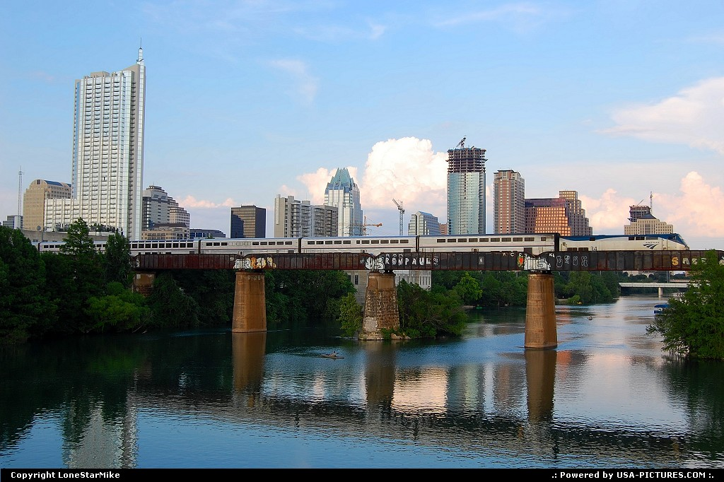 Picture by LoneStarMike: Austin Texas   downtown, skyline, skyscraper, train, bridge