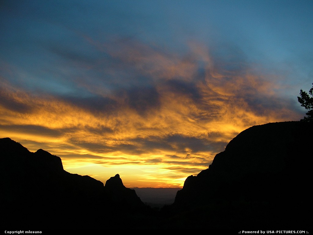 Picture by mlosuno:  Texas Big Bend  view window sunset clouds silhouette
