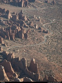 Arches National Park from above, during our