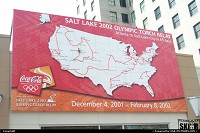 Salt Lake City : Olympic Torch Relay map in downtown Salt Lake City for 2002 Olympic Winter Games