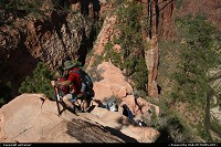 Angels Landing, a truly amazing and unforgettable hike ! Starting point is at the Grotto, just at the river level...