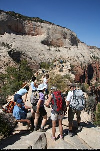 Hikers having a break at Angels Landing.