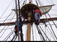 Photo by McMaggie | Jamestown  ship's mast, ship, mast, sailing, sailing ships, historic interpreters, living history museum, climbing, sailors, sails, wooden ships, rigging, Jamestown Settlement, living history museum, Jamestown, Virginia, Historic Triangle, Williamburg, fall, autumn