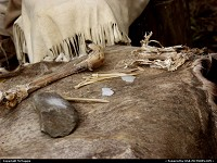 Photo by McMaggie | Jamestown  deerskin, bones, stones, tools, primitive tools, Indians, Powhatans, Powhatan Indians, Native Americans, living history museum, Powhatan Indian Village, November, Fall, autumn, Jamestown, Jamestown Settlement, Historic Triangle, Williamsburg, Virginia