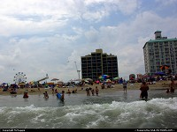 Virginia Beach : View of the beach, hotels, 16th Street amusement park, Ferris wheel, slide, from the ocean, Virginia Beach, Virginia, USA.