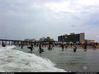 Virginia, View of 15th Street Pier, beach, hotels, Virginia Beach, Virginia, USA.