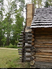 Photo by McMaggie | Williamsburg  log cabin, cabin, historic building, Jackson House, Freedom Park, free black settlement, James City County, Williamsburg, Virginia, black history, parks, museums