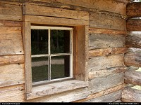 Photo by McMaggie | Williamsburg  window, log cabin, cabin, historic building, Jackson House, Freedom Park, free black settlement, black history, historic building, James City County, Williamsburg, Virginia, parks