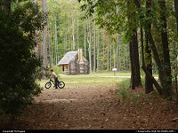 Mountain biking trails and historical buildings, Freedom Park, free black settlement in James City County, Williamsburg, Virginia.