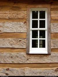 Photo by McMaggie | Williamsburg  window, cabin, historic building, Brown House, Freedom Park, free black settlement, black history, historic building, James City County, Williamsburg, Virginia, parks