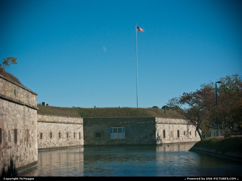 Picture by McMaggie: Fort Monroe Virginia   casemates, moat, Fort Monroe, Virginia, historic site, historic building, history, military, U.S.A., Civil War