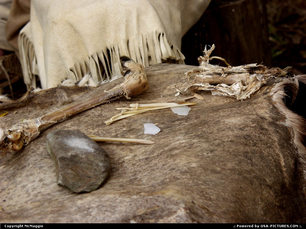 Picture by McMaggie: Jamestown Virginia   deerskin, bones, stones, tools, primitive tools, Indians, Powhatans, Powhatan Indians, Native Americans, living history museum, Powhatan Indian Village, November, Fall, autumn, Jamestown, Jamestown Settlement, Historic Triangle, Williamsburg, Virginia